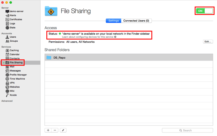 DS - 2- file sharing is running